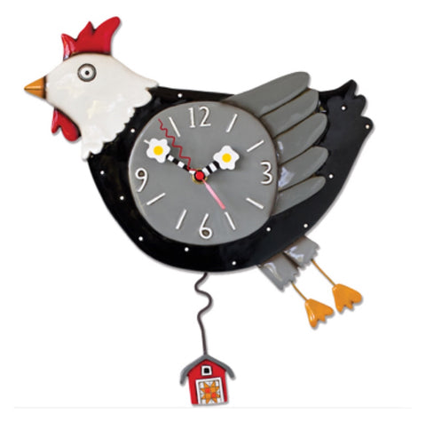 Clock Wall Chicken Flying Funky Retro