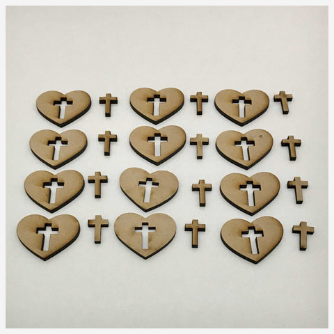 Heart & Cross Set of 24 MDF Shape DIY Raw Cut Out Art Craft Decor - The Renmy Store