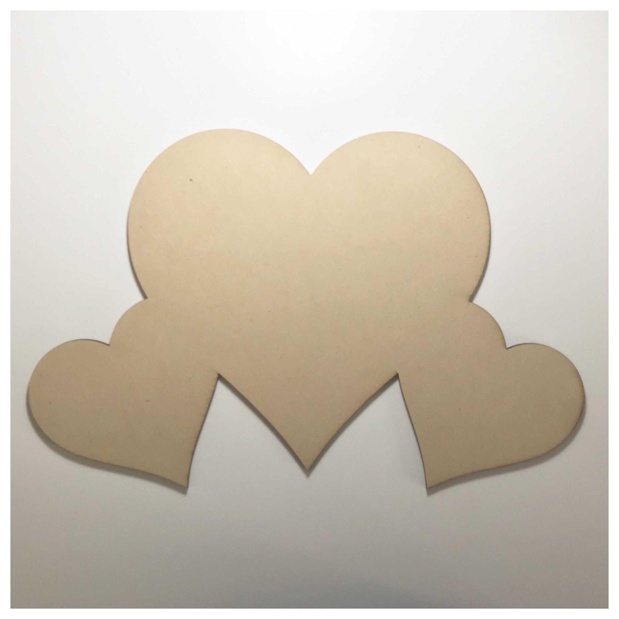 Heart Hearts Three Love Large Raw MDF DIY - The Renmy Store