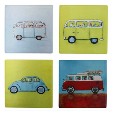 Kombie Dogs VW Van Beetle Coasters Coaster Set of 4