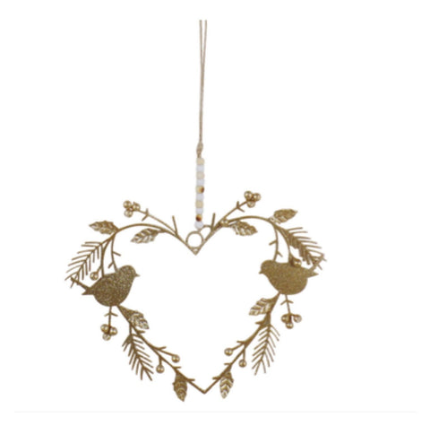 Heart Metal Hanger with Birds with Gold