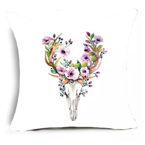 Cushion Pillow Boho Stag Skull Deer with Pink Purple Flowers