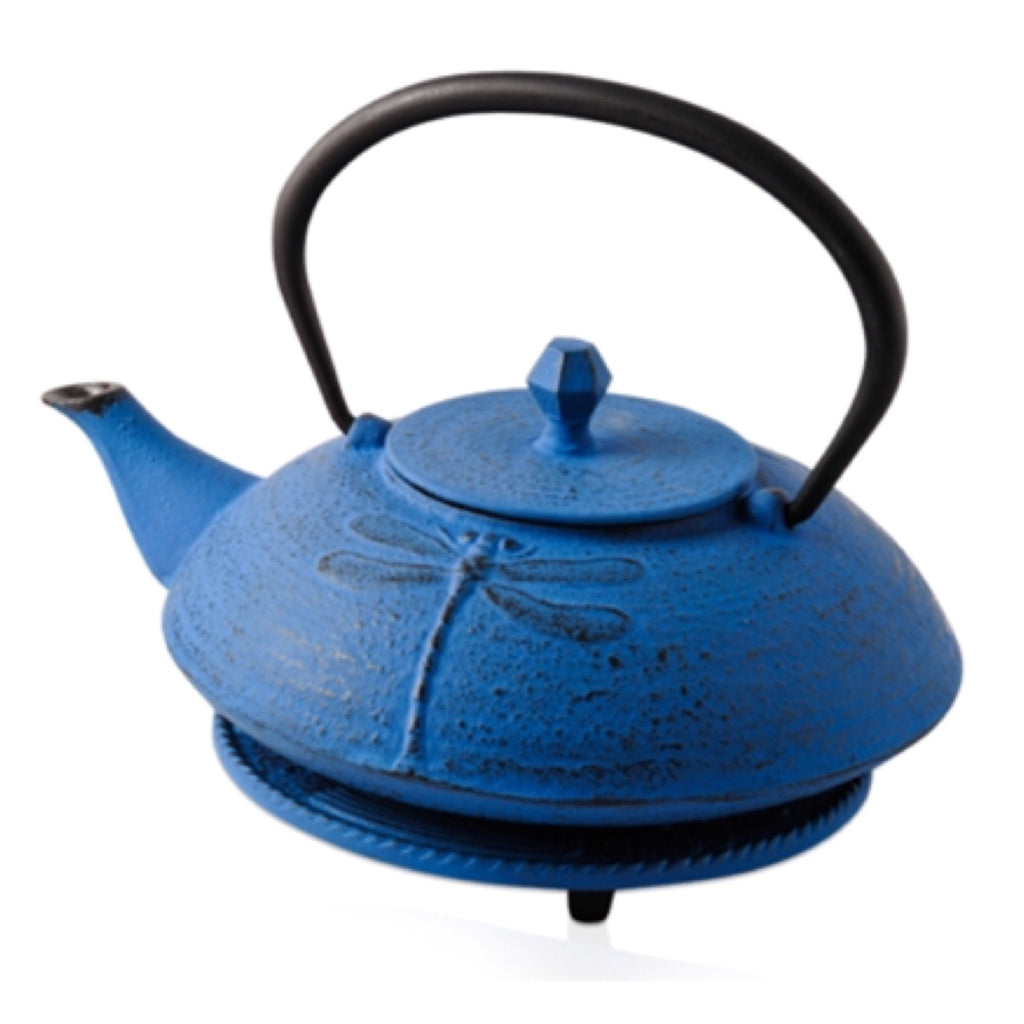 Cast Iron Teapot Blue Green Dragonfly Teapot 600ml Antique - Tea - - The Renmy Store