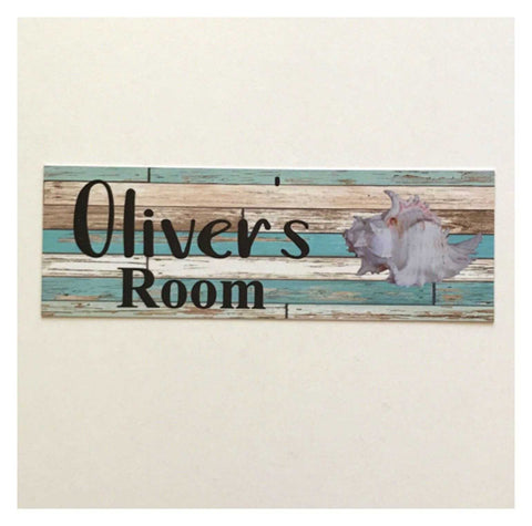 Custom Your Name Beach Shack Shell Room Sign Wall Plaque or Hanging Plaques & Signs The Renmy Store