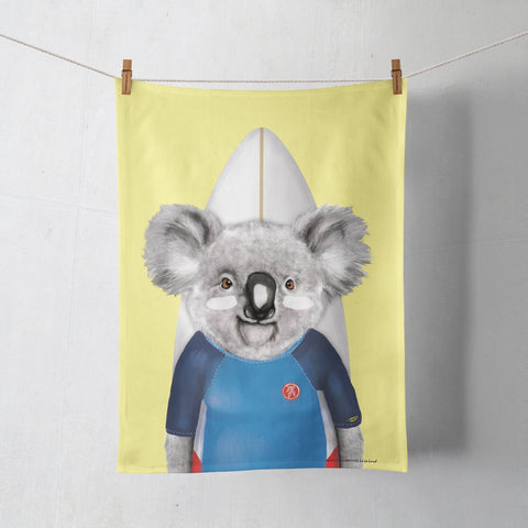 Tea Towel Surfing Koala