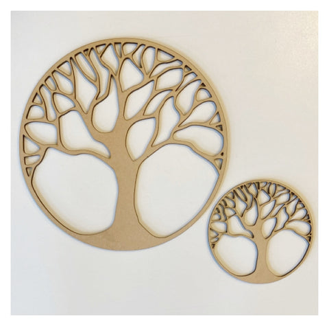 Tree of Life Set of 2 Raw MDF Wooden DIY Craft