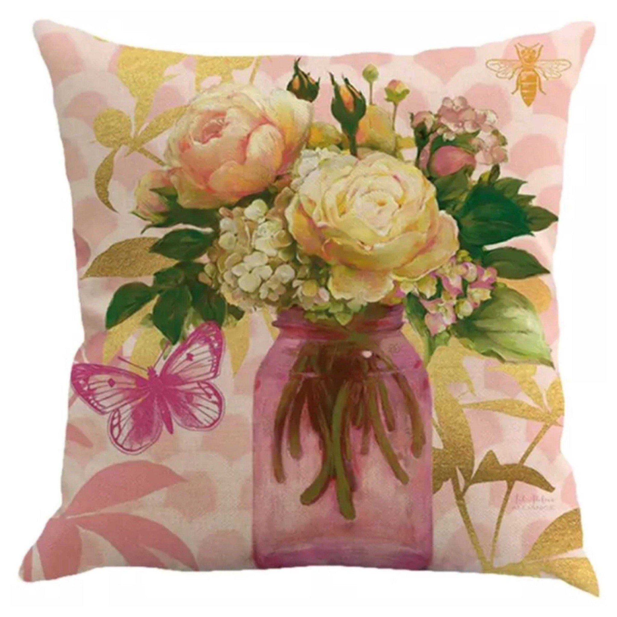 Cushion Pillow Pink Floral with Bee & Butterfly - The Renmy Store