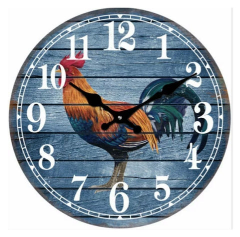 Clock Wall Cockerel Rooster Blue
