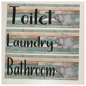 White Shell on Mint Timber Sign Toilet Laundry Bathroom - The Renmy Store