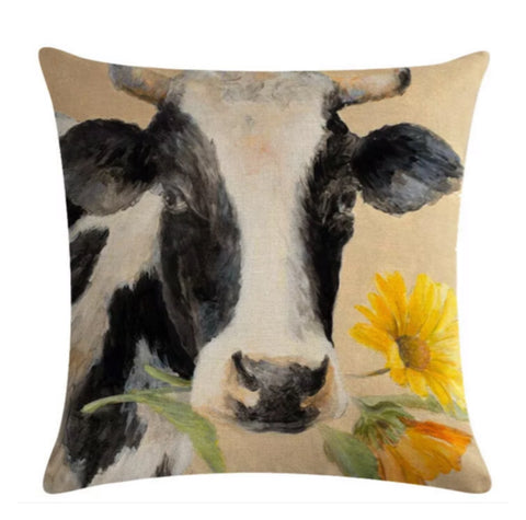 Cushion Pillow Cow Sunflower - The Renmy Store