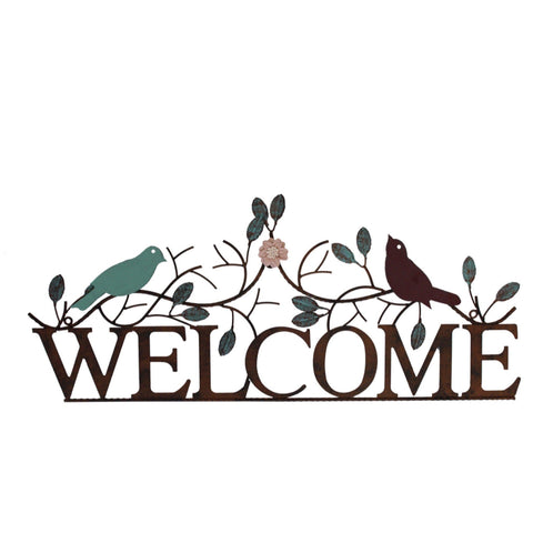 Welcome Metal Decorative Floral Birds Sign