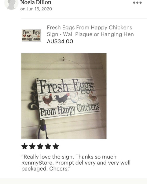 Fresh Eggs From Happy Chickens Sign