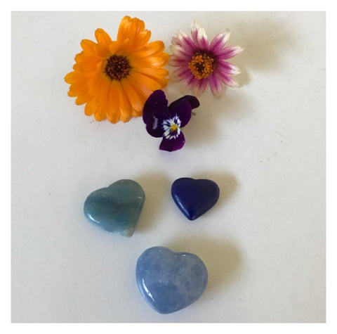 Crystal Blue Hearts Heart Set of 3
