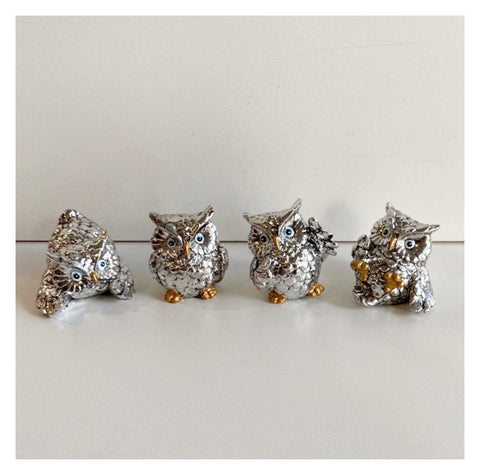 Owl Set of 4 Cheeky Silver