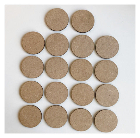 Circle Set of 18 MDF 5cm Timber DIY Raw Craft