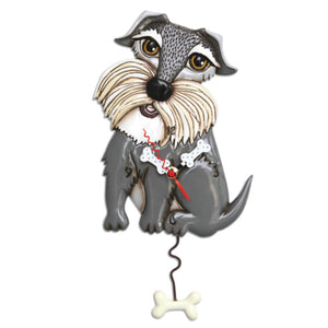 Clock Wall Dog Grey Lucy Funky Retro