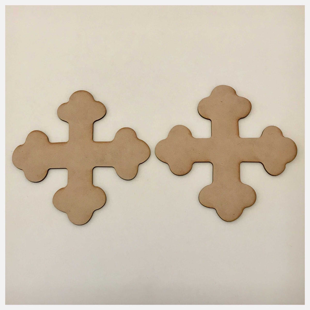 Cross Set of 2 Bontonee Russian MDF Shape DIY Raw Cut Out Art Religious Craft Decor - The Renmy Store