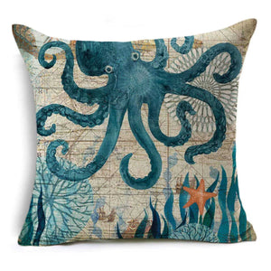Cushion Pillow Octopus Blue Beach House - The Renmy Store