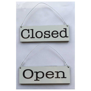 Open Closed White Business Shop Cafe Hanging Sign