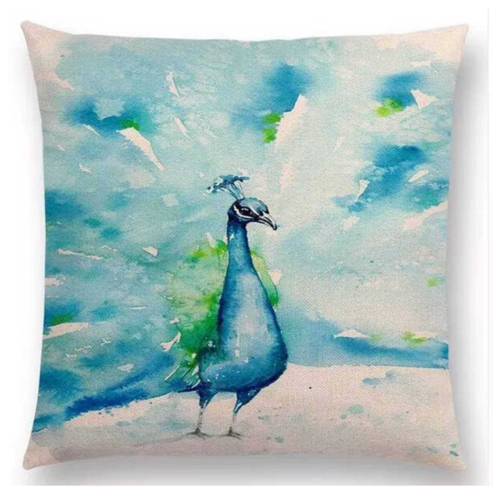 Cushion Pillow Peacock Blue Bird - The Renmy Store