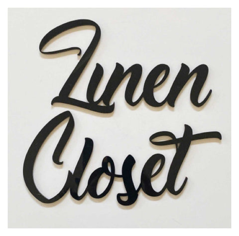 Linen Closet Door Word Acrylic Wall Art Vintage