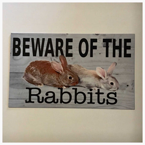 Beware Of The Rabbits Sign Plaque Or Hanging - The Renmy Store