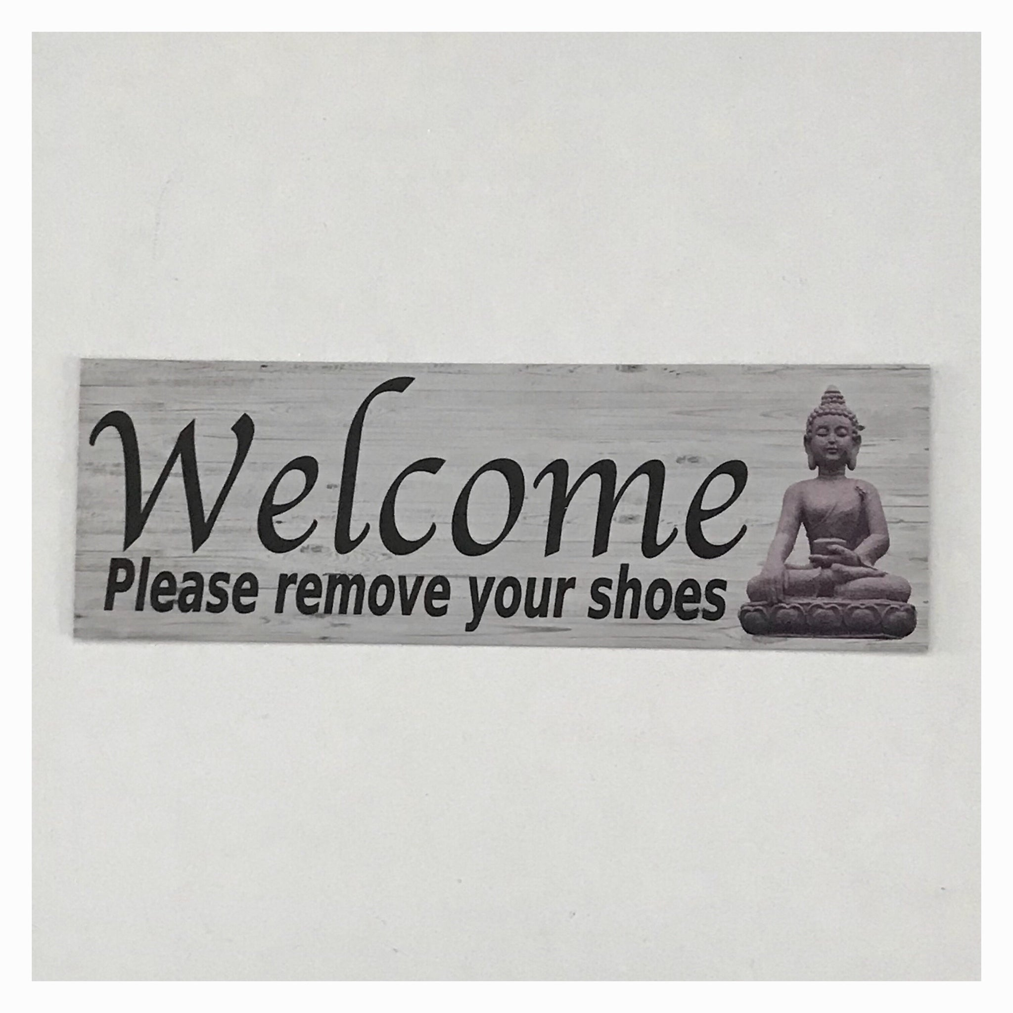 Welcome Remove Shoes Thai Tropical Zen Sign