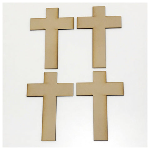 Set of 4 Cross Crosses 3mm MDF Shape Raw Cut Out Art - The Renmy Store