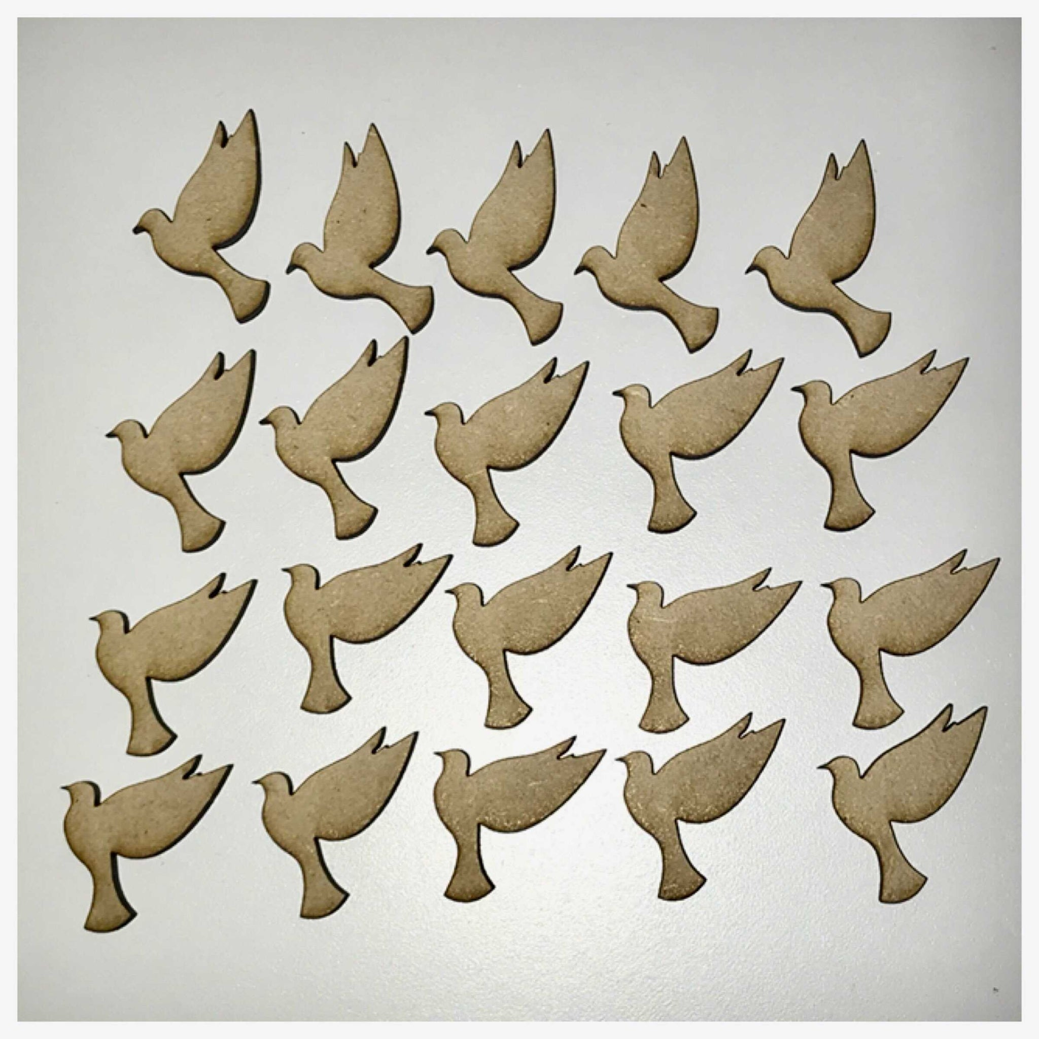 Dove Bird Peace x 20 MDF DIY Raw Cut Out Art Craft Decor