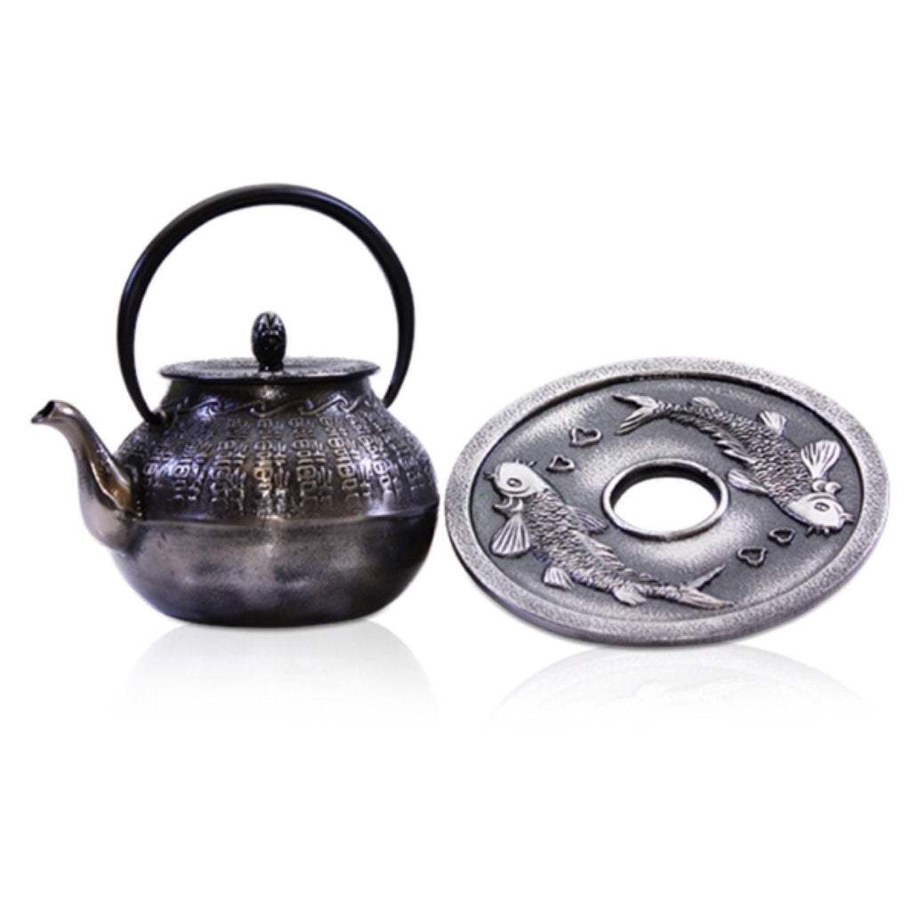 Cast Iron Silver Teapot 600ml Antique - Tea - - The Renmy Store