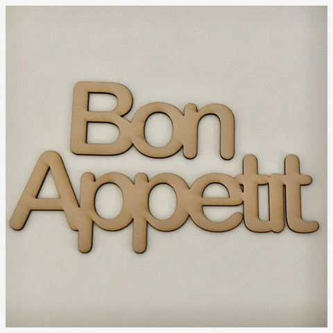Bon Appetit French Word Sign MDF DIY Wooden