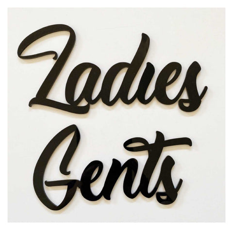 Gents Ladies Door Word Acrylic Wall Art Vintage