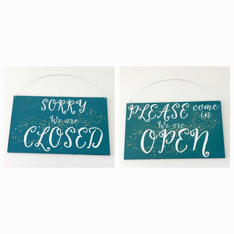 Open Closed Business Shop Cafe Hanging Sign - Aqua Chic - The Renmy Store