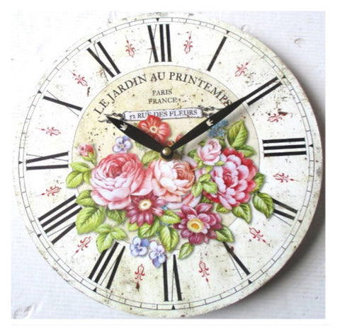 Clock Le Jardin Floral French