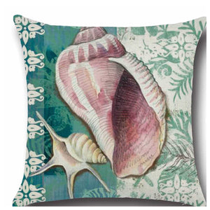 Cushion Pillow Sea Shells Blue Beach House Cushions, Decorative Pillows The Renmy Store