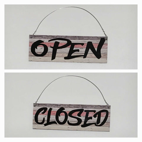 Open Closed Red Timber Look Business Shop Cafe Hanging Sign - The Renmy Store