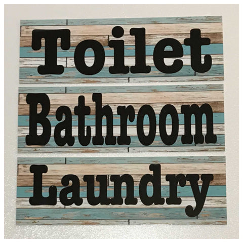 Modern Mint Timber Sign Toilet Laundry Bathroom Plaques & Signs The Renmy Store