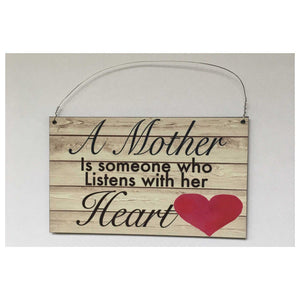 Mother Listens with her Heart Sign Wall Plaque Or Hanging Plaques & Signs The Renmy Store
