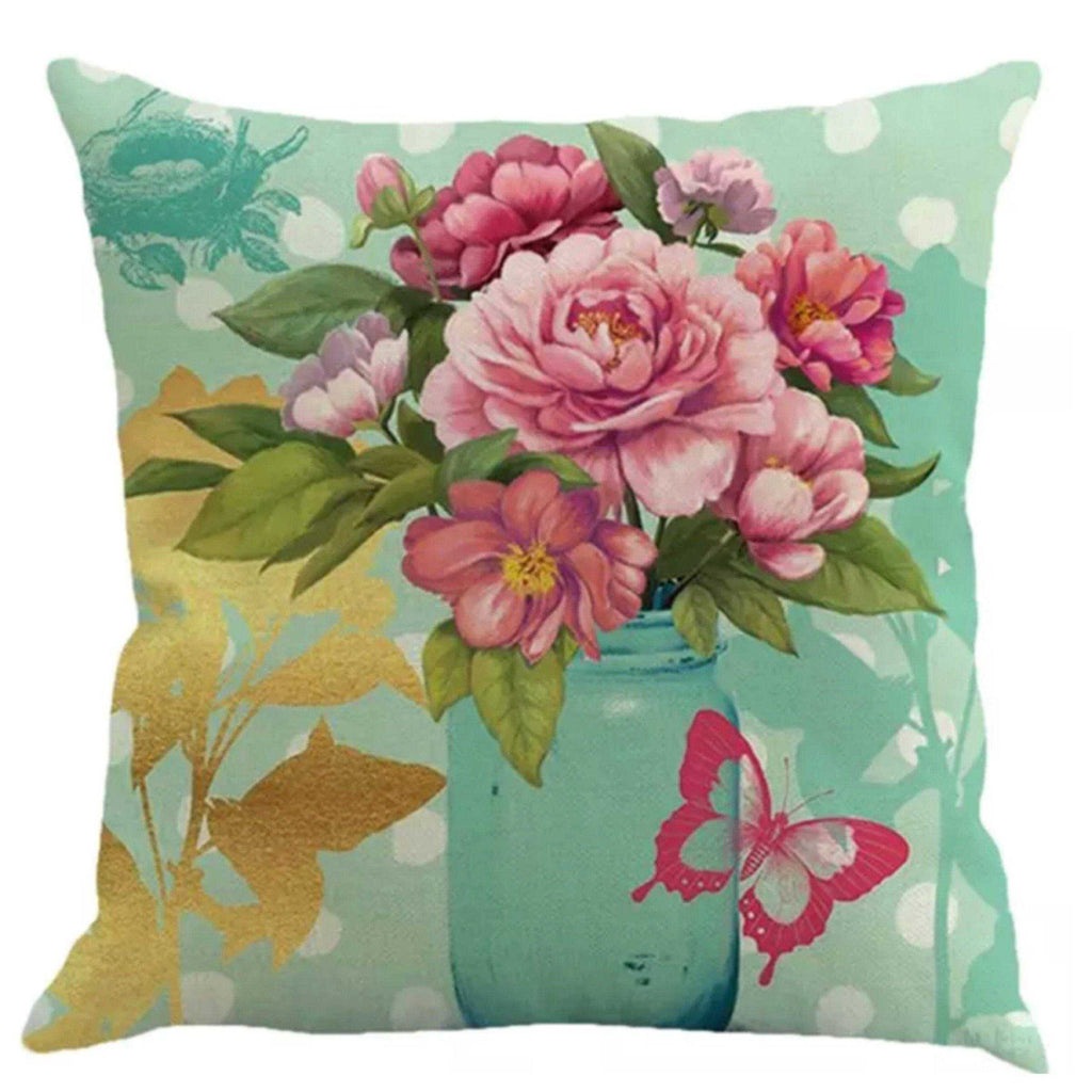 Cushion Pillow Pink & Green Flowers with Butterfly - The Renmy Store