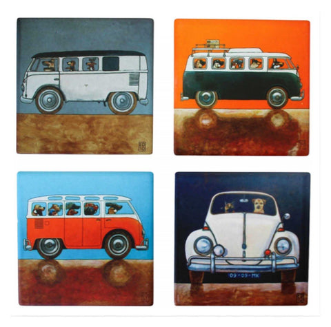 Kombie Dogs VW Coasters Coaster Set of 4 | The Renmy Store