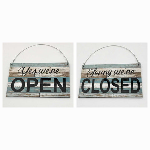 Open Closed Business Shop Cafe Hanging Sign - Blue Timber Look - The Renmy Store