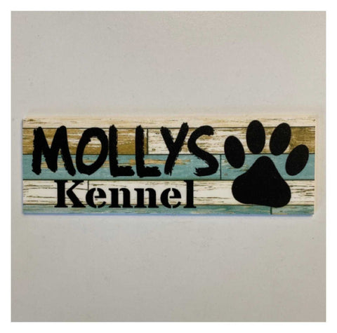 Dog Kennel Personalised Your Dogs Name Blue Sign