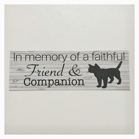 RIP Cat Kitten Kitty Pet Memorial Faithful Friend Companion Sign Plaque Or Hanging - The Renmy Store
