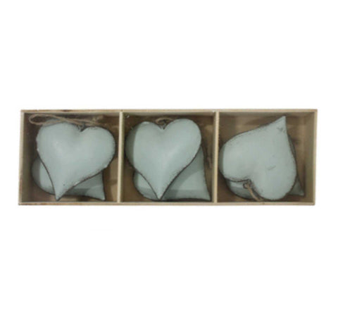 Heart Hanging Aqua Blue Set of 6