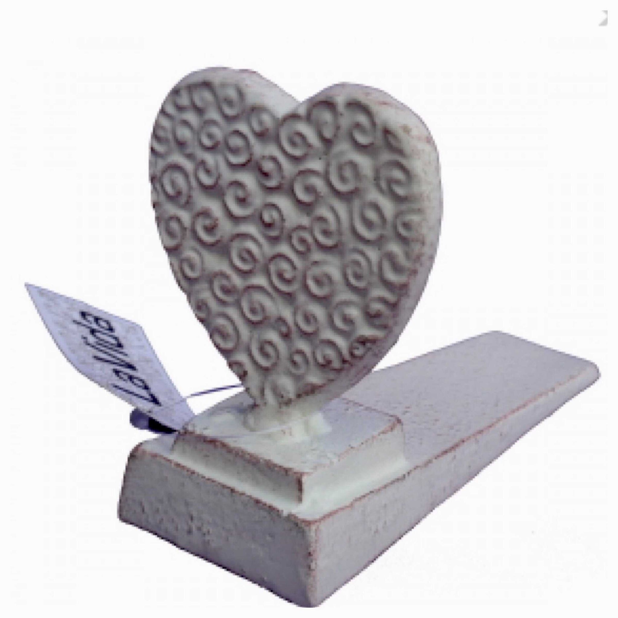 Heart White Cast Iron Door Stop Wedge - The Renmy Store