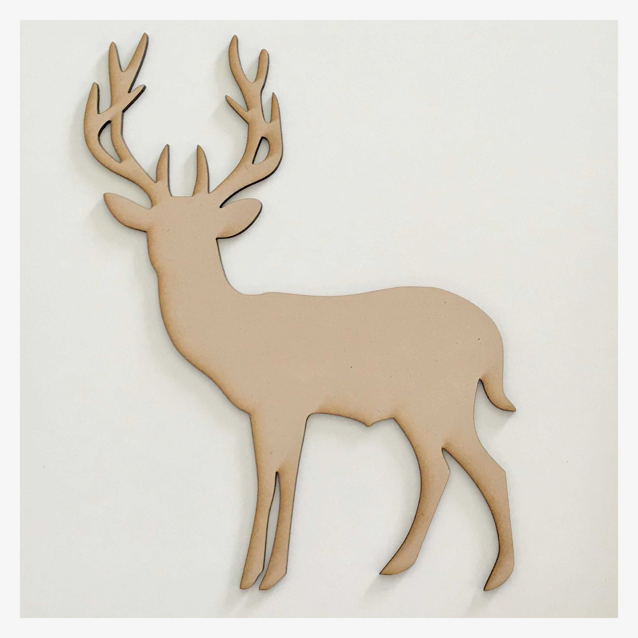 Deer Stag Standing Wild Reindeer Raw MDF Timber DIY Craft - The Renmy Store