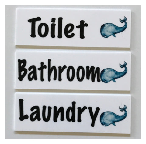 Whale Toilet Laundry Bathroom Door Sign | The Renmy Store