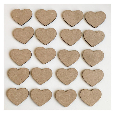 Heart Hearts Set of 20 MDF Timber DIY Raw Craft
