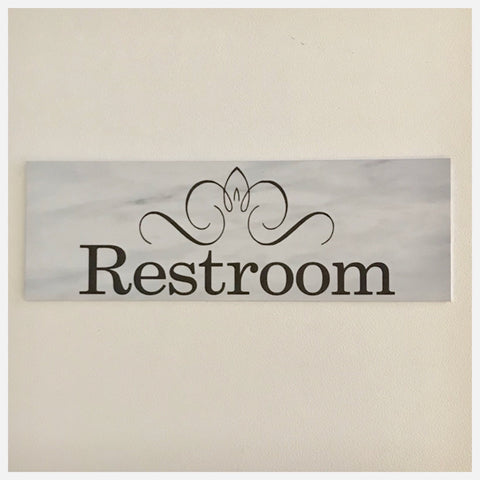 Restroom Toilet Door Shabby Chic Sign