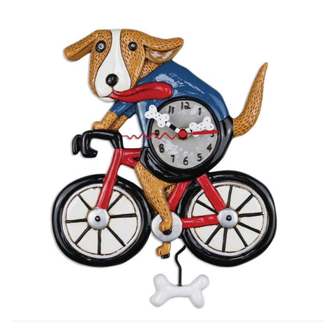 Clock Wall Dog Bicycle Funky Retro